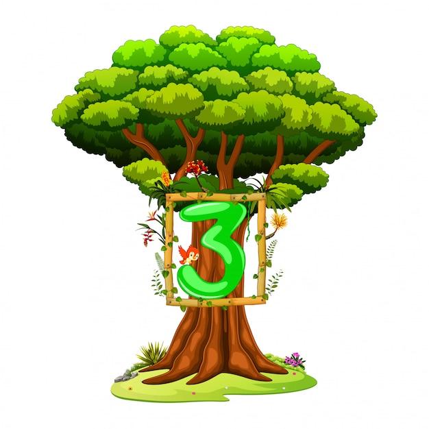 Un albero con una figura numero tre su uno sfondo bianco Vettore Premium