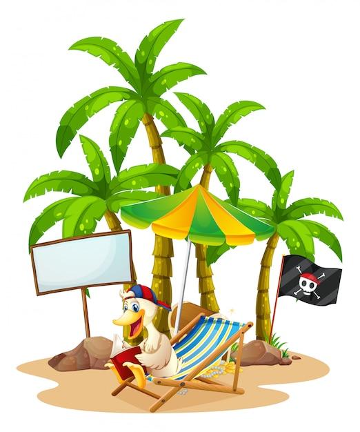 Un'anatra che si rilassa alla spiaggia vicino all'insegna vuota Vettore gratuito