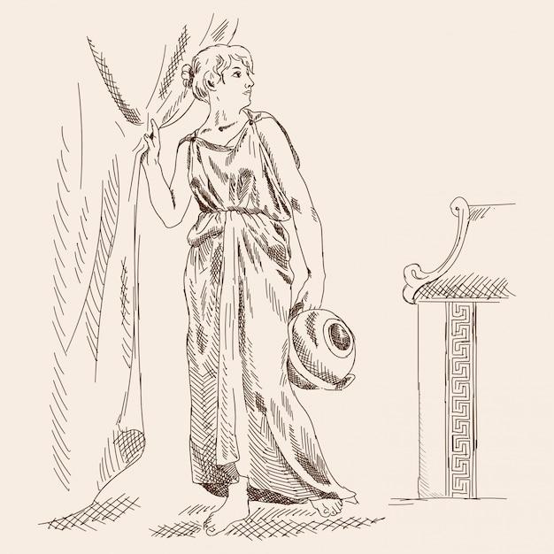 Un'antica donna greca sta con una brocca in mano vicino alle tende. Vettore Premium