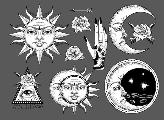 Un'antica illustrazione astronomica Vettore Premium