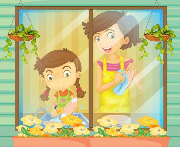 Un bambino che aiuta sua madre a lavare i piatti Vettore Premium