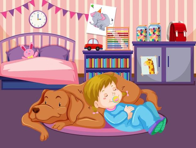 Un bambino dorme con il cane Vettore Premium
