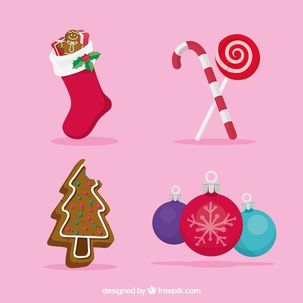 Accessori Natale.Un Bel Set Di Accessori Per Natale Scaricare Vettori Gratis