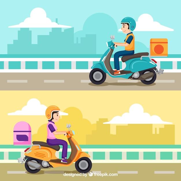 Un bel set di concetto di consegna scooter Vettore gratuito