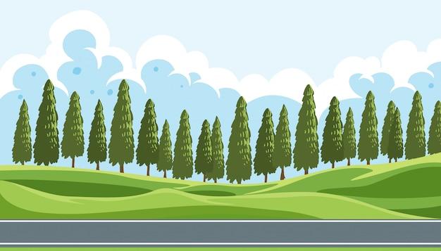 Un bellissimo paesaggio naturale Vettore gratuito