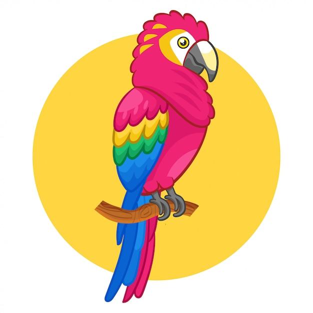 Un bellissimo uccello carino scarlet macaw. Vettore Premium