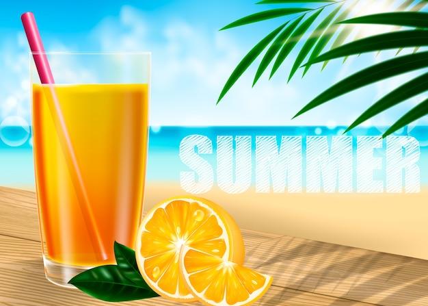 Un bicchiere di succo d'arancia Vettore Premium