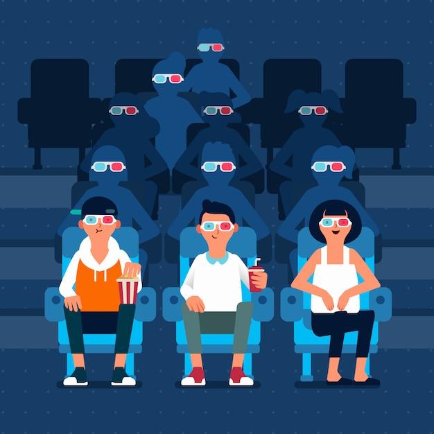 Un carattere di tre persone che guarda film 3d nel cinema e molta gente profilano dietro l'illustrazione Vettore Premium