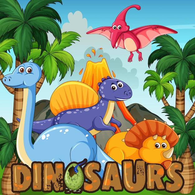 Un cartone animato di dinosauri Vettore Premium