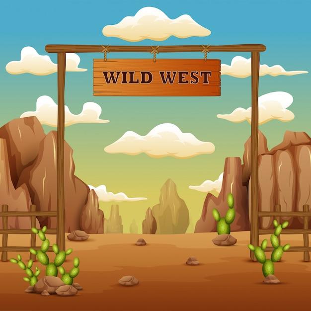 Un cartone animato di paesaggio cancello cancello nel selvaggio west Vettore Premium