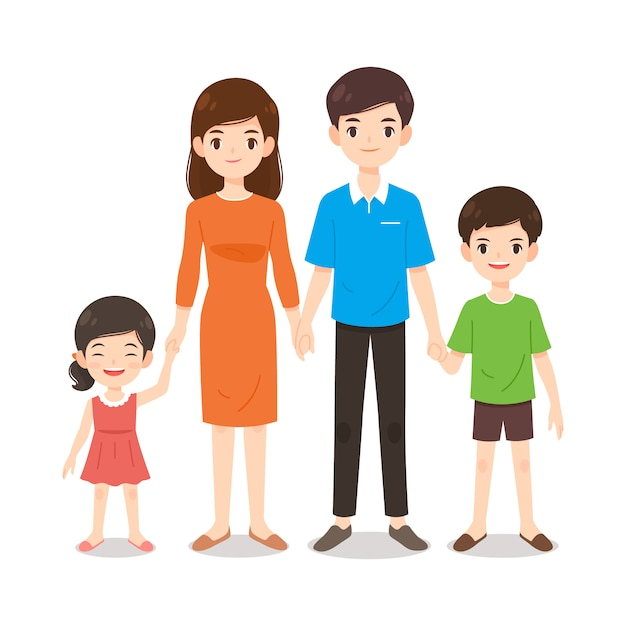 Un cartone animato familiare caldo e felice Vettore Premium