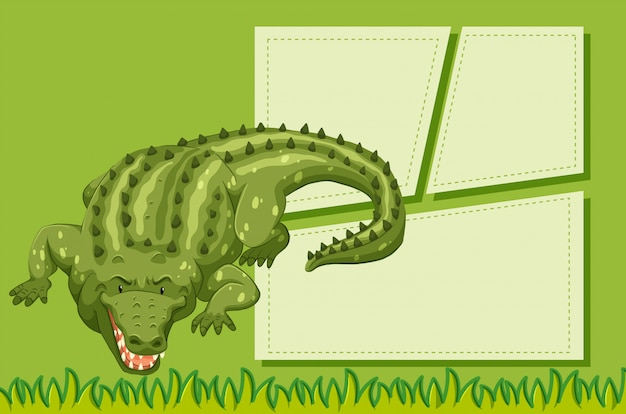 Un coccodrillo su sfondo di nota Vettore gratuito
