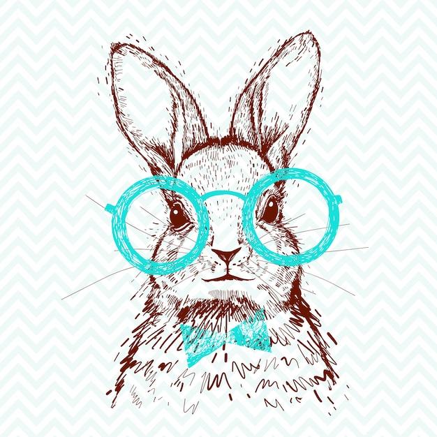 Un coniglio alla moda hipster. schizzo disegnato a mano per poster Vettore Premium