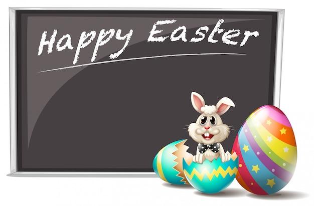 Un coniglio e l'uovo di pasqua incrinato Vettore gratuito