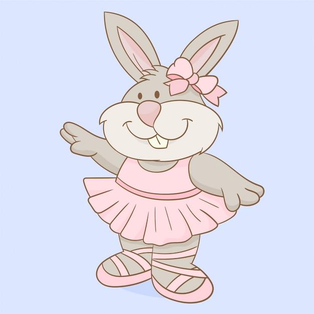 Un coniglio sta ballando balletto Vettore Premium