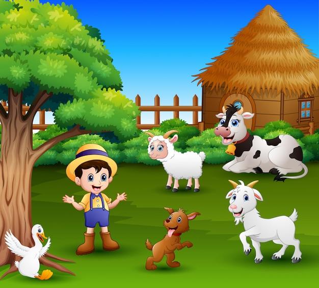 Un contadino nella sua fattoria con un branco di animali da fattoria Vettore Premium