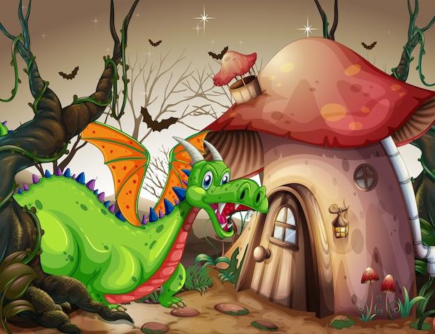 Un drago verde nella foresta oscura Vettore Premium