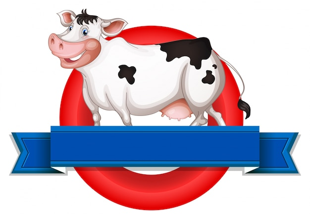 Un'etichetta vuota con una mucca Vettore gratuito