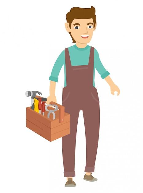 Un falegname cammina e tiene molti strumenti per il lavoro Vettore Premium