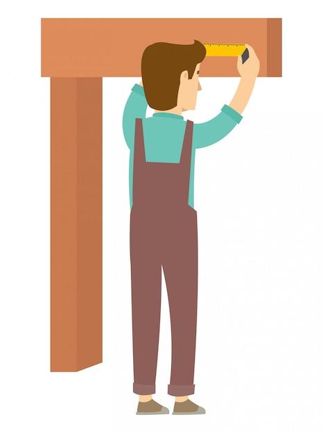 Un falegname sta misurando il legno prima di tagliarlo Vettore Premium