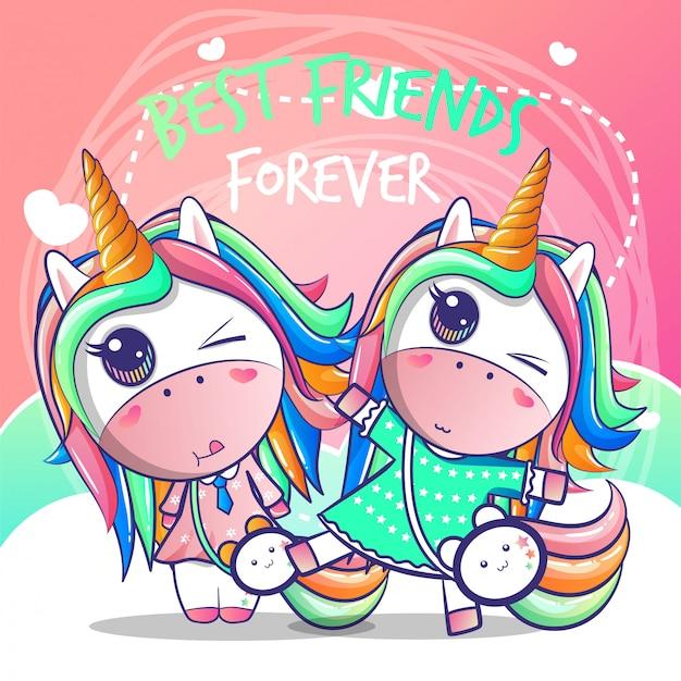 Un felice unicorno di amicizia Vettore Premium