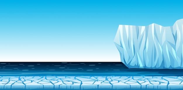 Un freddo paesaggio artico Vettore Premium