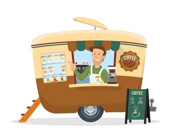 Un giovane che vende caffè sul rimorchio delle bevande Vettore Premium
