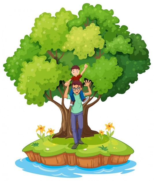 Un giovane ragazzo portato da suo padre vicino al grande albero Vettore gratuito