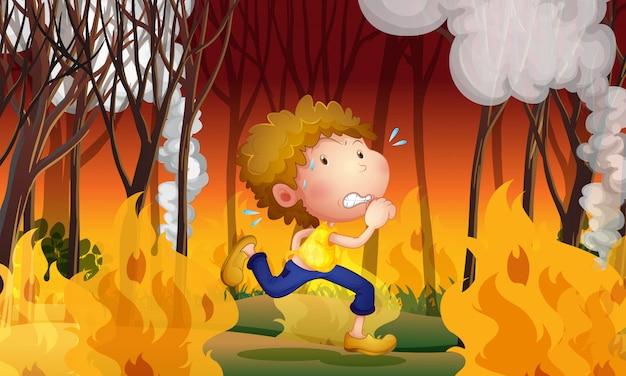 Un giovane uomo fugge da un incendio Vettore Premium