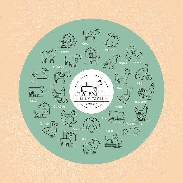 Un grande set di icone vettoriali circolare di animali rurali in uno stile lineare Vettore Premium