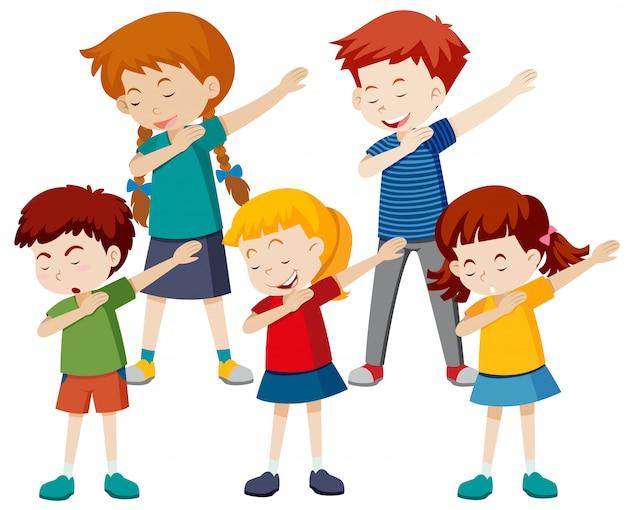 Un gruppo di bambini limita Vettore gratuito