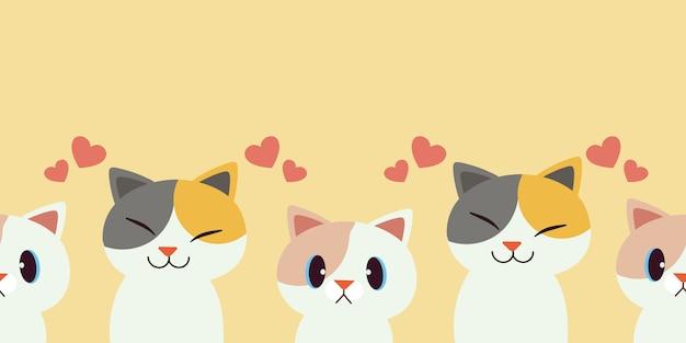 Un gruppo di gatti è senza cuciture Vettore Premium