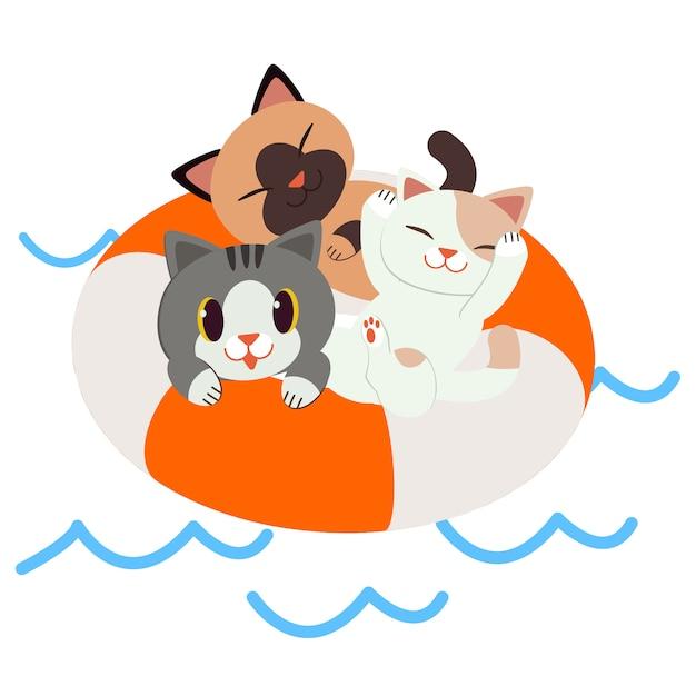 Un gruppo di gatti seduti sull'anello della vita. Vettore Premium