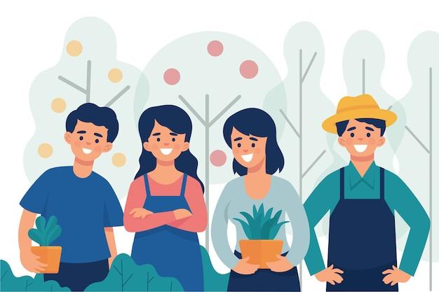 Un gruppo di giovani agricoltori che sono orgogliosi di lavorare sull'agricoltura Vettore Premium