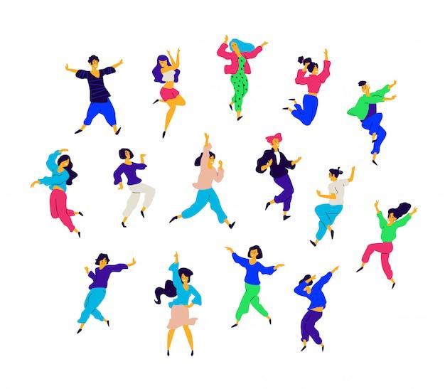 Un gruppo di persone che ballano in diverse pose ed emozioni. Vettore Premium
