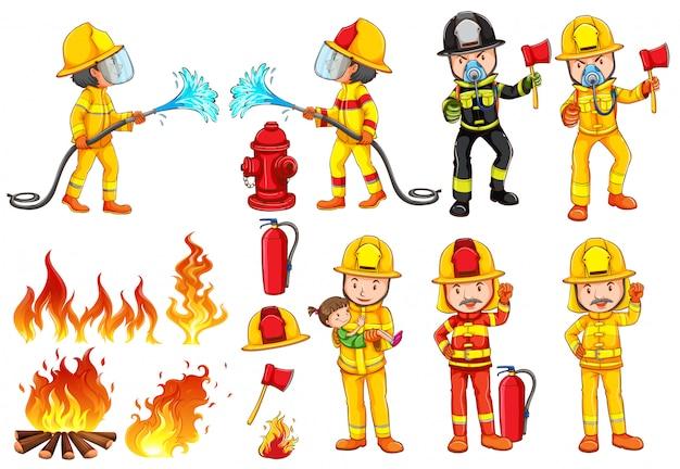 Un gruppo di pompieri Vettore gratuito