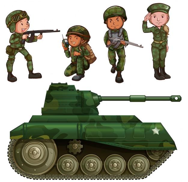 Un gruppo di soldati Vettore gratuito