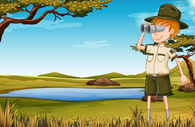 Un guardiano dello zoo in savana Vettore gratuito