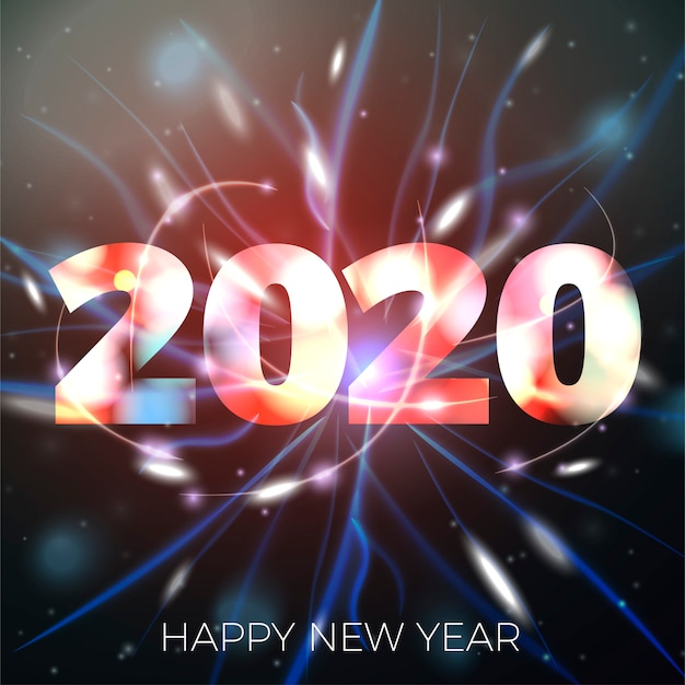 Un'illustrazione di 2020 nuovi anni sul fondo luminoso del bokeh con le luci vaghe Vettore Premium