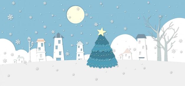 Un'illustrazione nevosa del villaggio di inverno con un grande albero di natale. Vettore Premium
