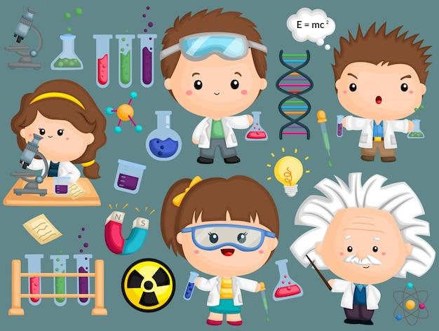 Un'immagine di scienziato impostata con molti oggetti Vettore Premium