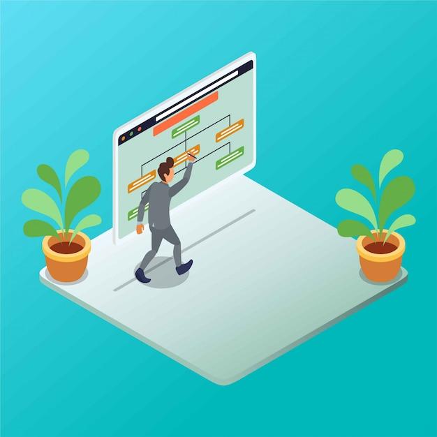 Un impiegato dell'ufficio sta presentando un'illustrazione isometrica del grafico Vettore Premium