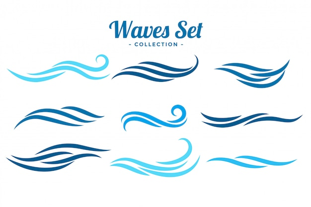 Un insieme astratto di concetto di logo delle onde di nove Vettore gratuito