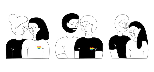 Un insieme di coppia lisbian, coppia gay e coppia eterosessuale. Vettore Premium