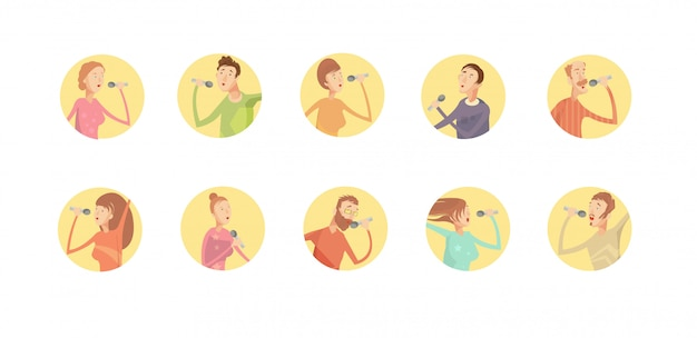Un insieme di dieci icone rotonde isolate del partito di karaoke Vettore gratuito