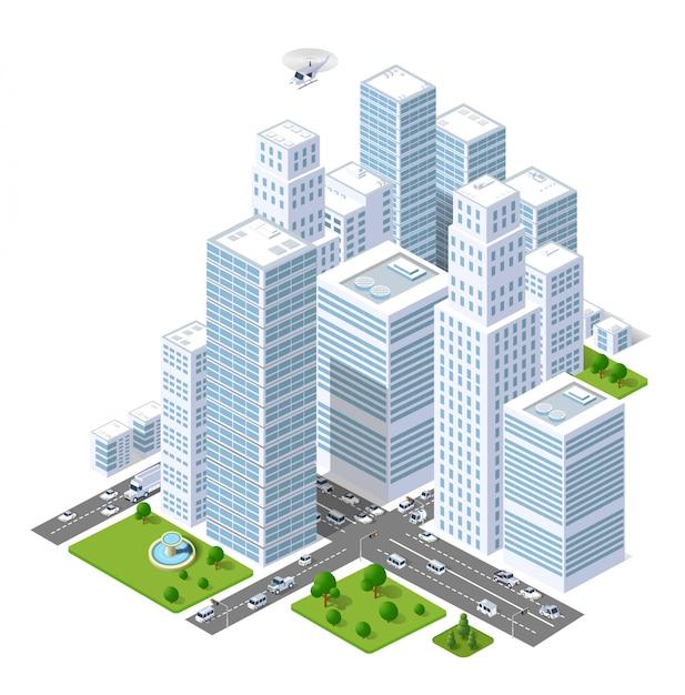 Un insieme di edifici urbani, grattacieli, case, supermercati, strade e strade. Vettore Premium