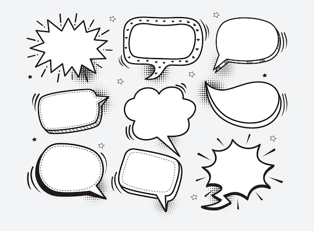 Un insieme di fumetti comici ed elementi con ombre di semitono Vettore Premium