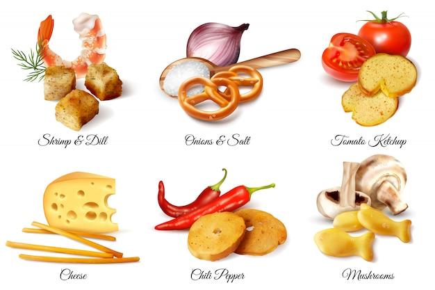 Un insieme di sei composizioni realistiche di progettazione ha illustrato gli spuntini dei cracker e l'illustrazione isolata ingredienti additivi dell'aroma Vettore gratuito