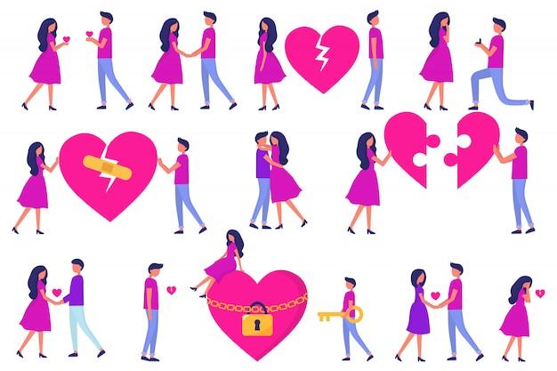 Un insieme di uomini e donne, amore a prima vista, un appuntamento, tradimenti e litigi e abbracci, rompicapo dal cuore. sviluppo di una relazione. gente piatta vettoriale alla moda. Vettore Premium