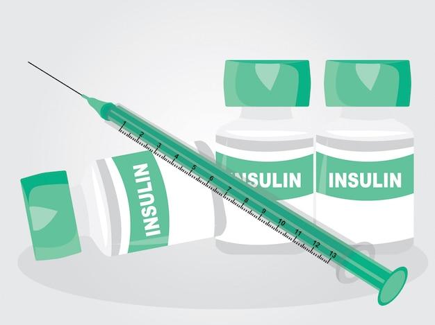 Un'insulina e una siringa su fondo bianco Vettore Premium